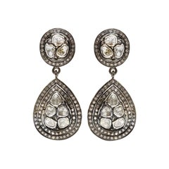 Grey and White Diamond Chandelier Earrings