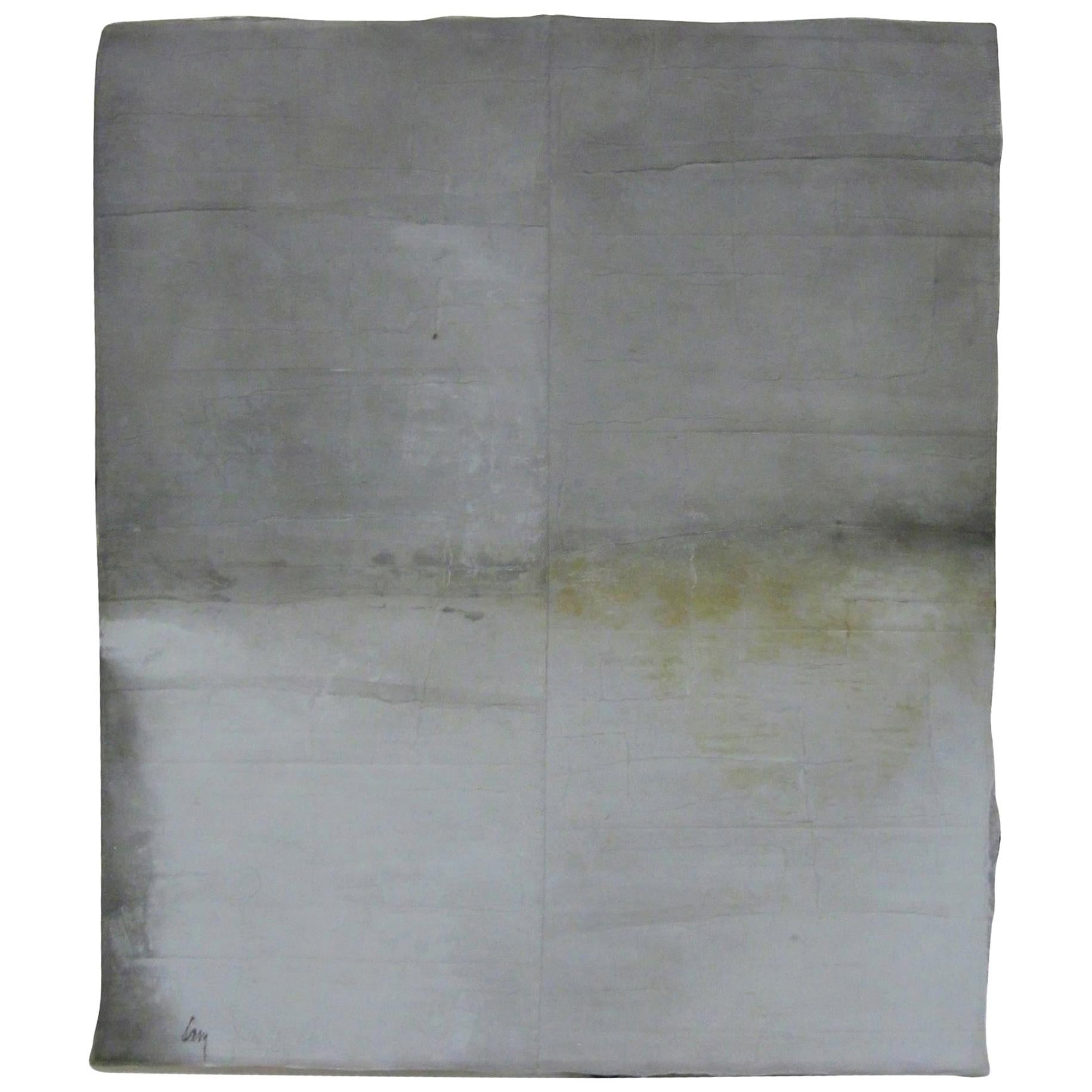 Grey and White Extra Large Painting by Belgian Artist Diane Petry, Contemporary