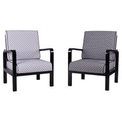 Grey Art Deco Armchairs, Made 1930s and Restored to High Gloss, Two Pieces