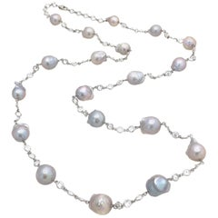 Grey Baroque Pearl Sterling Silver Long Station Necklace