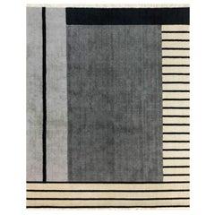 Grey Black Beige Wool Rug w/ stripes design by Cecilia Setterdahl for Carpets CC