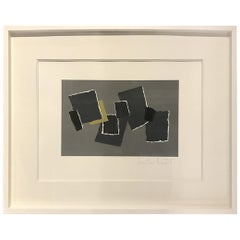 Grey, Black, Chartreuse Collage by Artist Isabelle Bouteillet, France