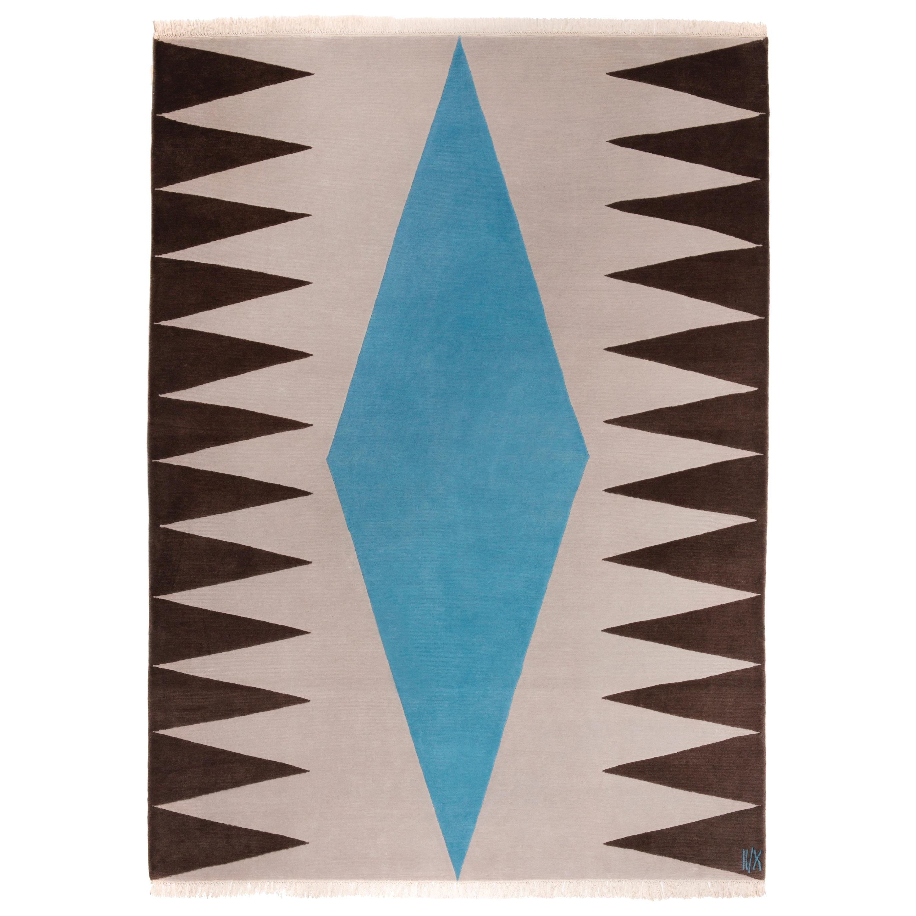 Grey Blue Brown Geometrical Wool Rug by Cecilia Setterdahl for Carpets CC