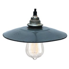 Grey Blue Enamel French Vintage Industrial Pendant Lights (2x)