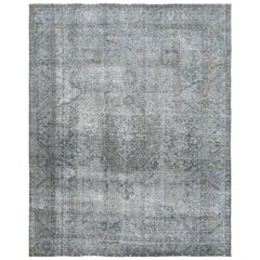 Grey Bohemian Old Persian Tabriz Design Hand Knotted Oriental Rug