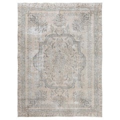 Grey Bohemian Vintage Look Persian Tabriz Medallion Hand Knotted Oriental Rug