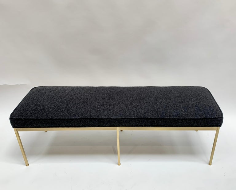 Mid-Century Modern Grey Boiled Wool and Satin Brass Paul Bench by Lawson-Fenning For Sale