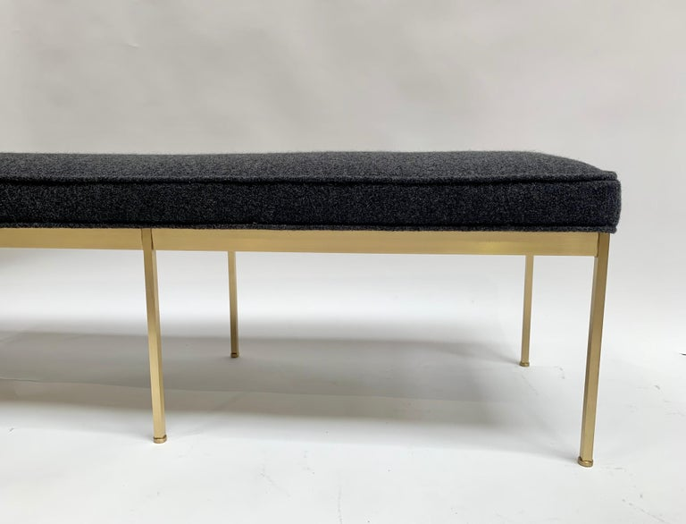 American Grey Boiled Wool and Satin Brass Paul Bench by Lawson-Fenning For Sale