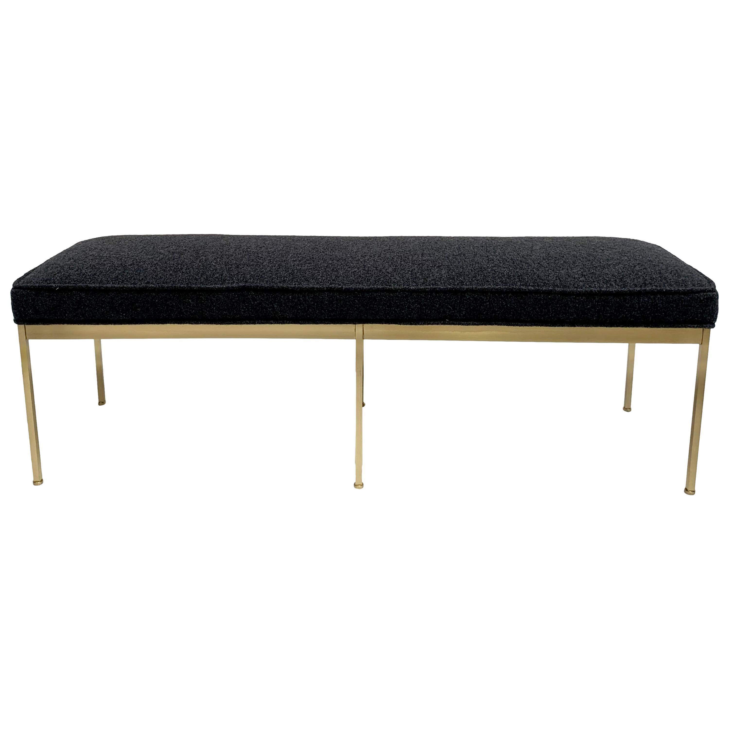 Grey Boiled Wool and Satin Brass Paul Bench by Lawson-Fenning