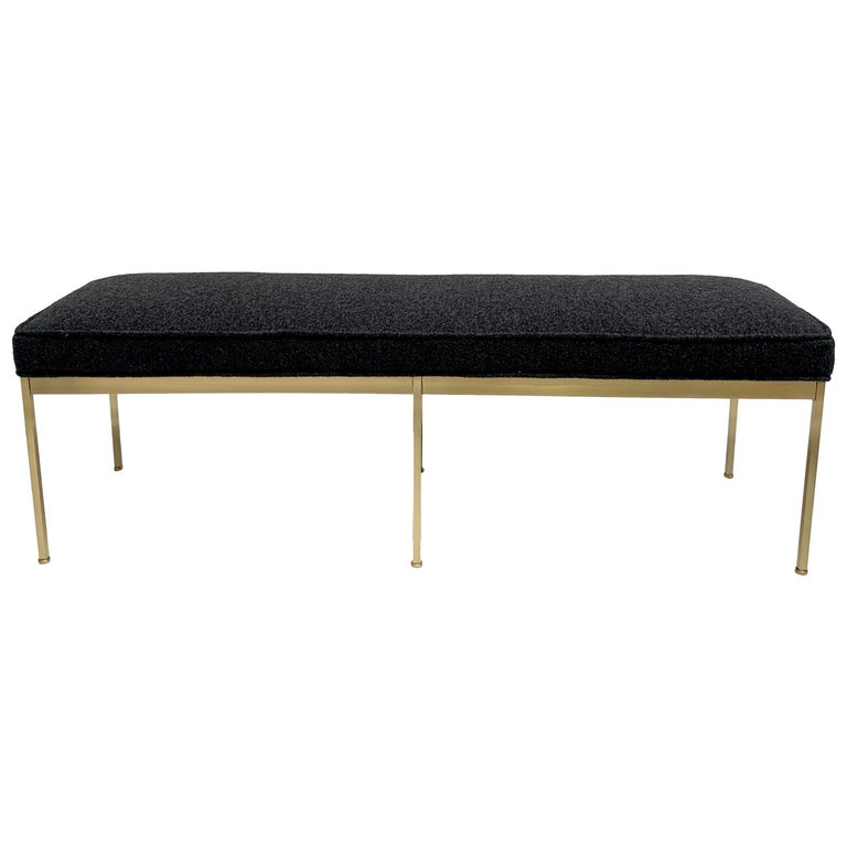 Grey Boiled Wool and Satin Brass Paul Bench by Lawson-Fenning For Sale