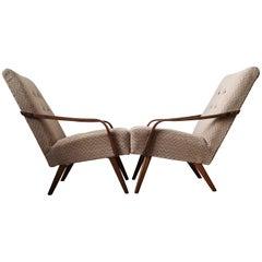 Grey/Brown Vintage Armchairs, 1960s, Pair