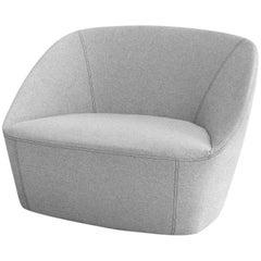 Grey Bucket Armchair in Fabric Minimalist Design by Sphaus