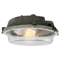 Grey Cast Aluminum Vintage Industrial Glass Wall Ceiling Lamp Scone