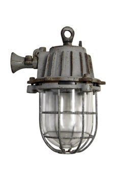 Grey Cast Iron Vintage Industrial Clear Glass Cage Hanging Lamp