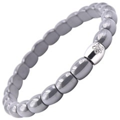 Grey Ceramic and 18 Karat White Gold Station Bracelet