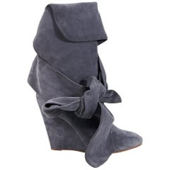 Grey Chloe Suede Wedge Boots
