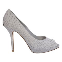 Grey Christian Dior Leather Snakeskin Embossed Peep-Toe Pumps