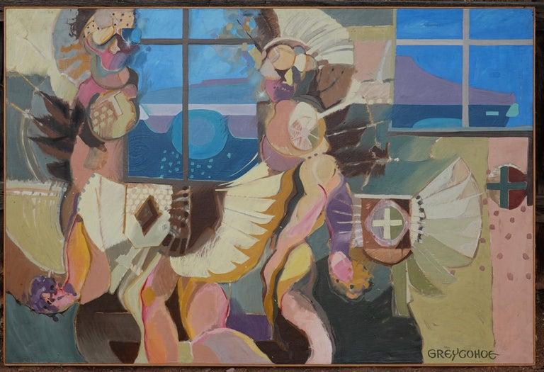 Fast Dancing At Taos, Grey Cohoe, abstract painting, Pow Wow, Taos, Navajo, IAIA - Painting by Grey Cohoe