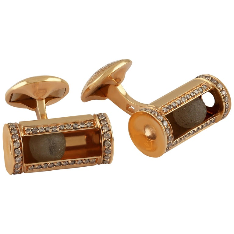 Grey Diamond Ballas '5ct' Cufflinks with Brown Diamonds '0.91 Carat', Rose Gold For Sale