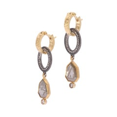 Grey Diamond Vintage Mirror Drop Earrings in 18 Karat Gold