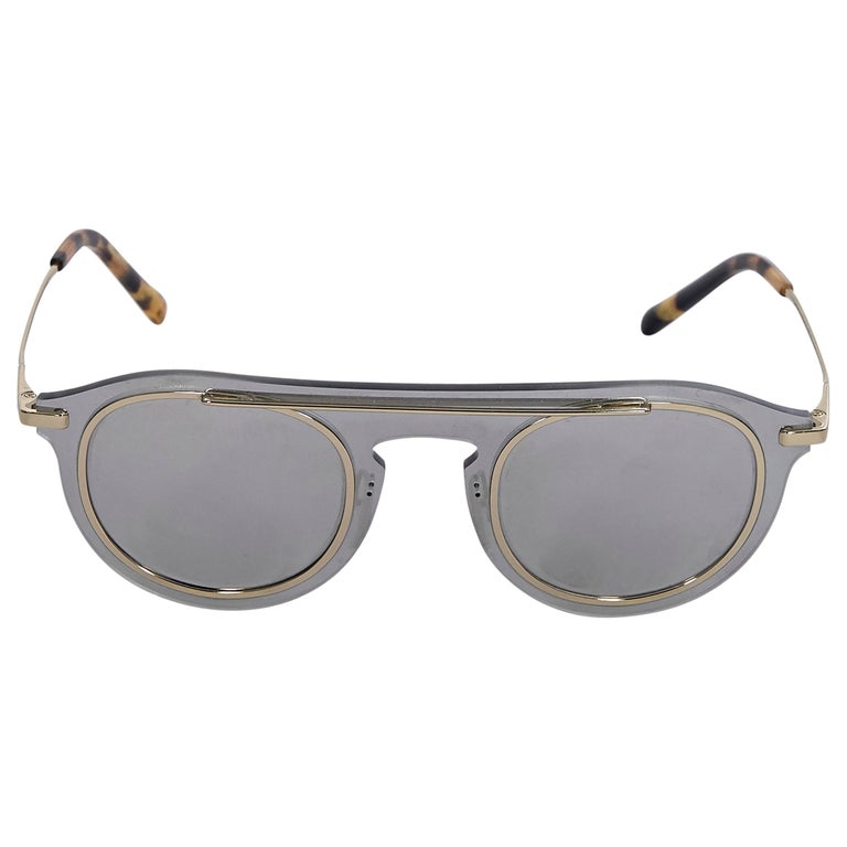 Dolce & Gabbana Grey Mirrored Metal Frame Sunglasses For Sale