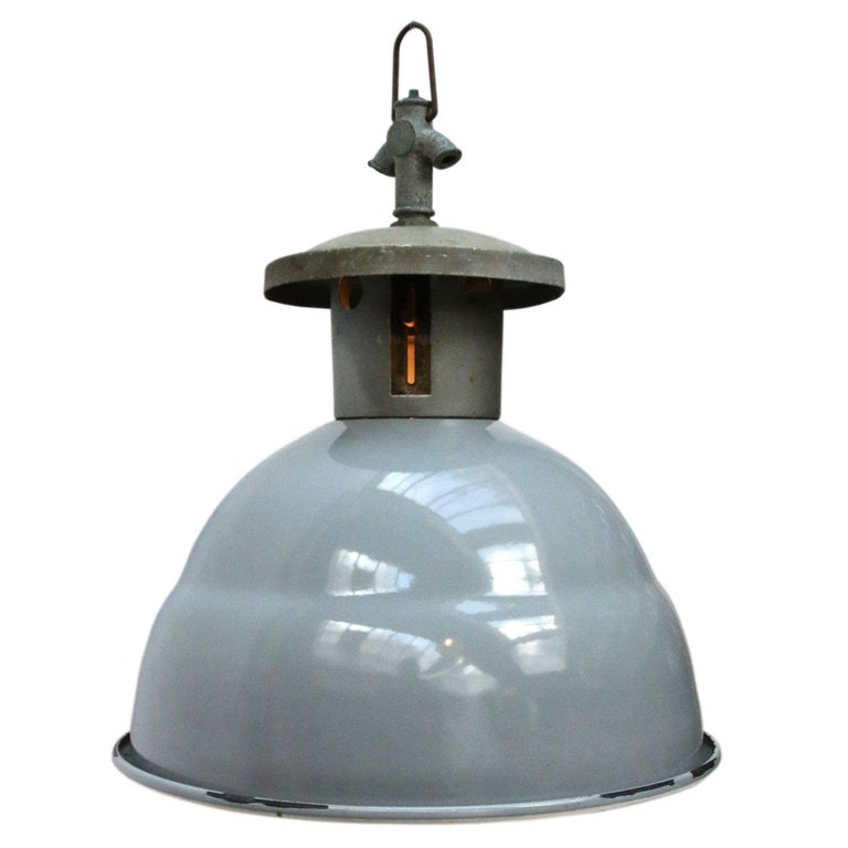 Vintage Industrial Enamel Pendant Light: Grey Enamel British Vintage Industrial Metal Top Pendant