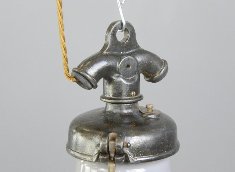 Grey Enamel Factory Lights by Credalux, circa 1930s For Sale 4