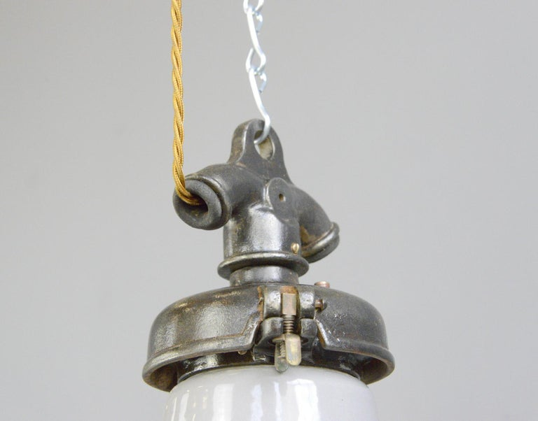 Industrial Grey Enamel Factory Lights by Credalux, circa 1930s For Sale