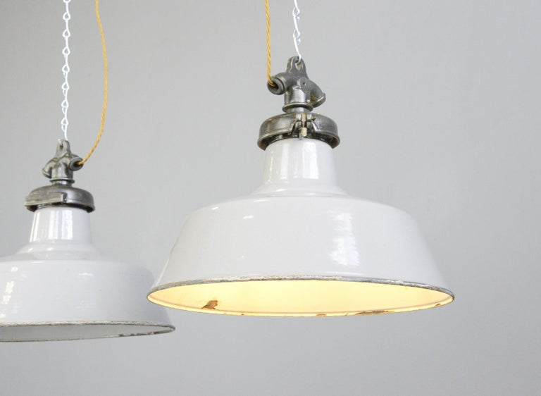 Grey Enamel Factory Lights by Credalux, circa 1930s For Sale 1