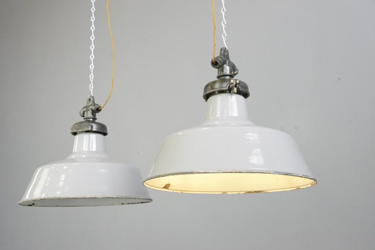 Grey Enamel Factory Lights by Credalux, circa 1930s For Sale 2