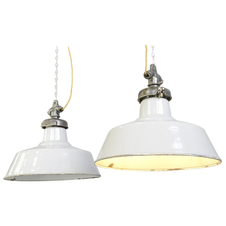 Grey Enamel Factory Lights by Credalux, circa 1930s For Sale