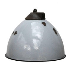 Grey Enamel Vintage Industrial Cast Iron Top Factory Pendant Lights (2x)