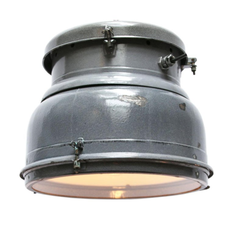 Classic European vintage industrial lamp. Very rare early model. Gray enamel with white interior.   Weight: 8.9 kg / 19.6 lb.  Priced per individual item. All lamps have been made suitable by international standards for incandescent light