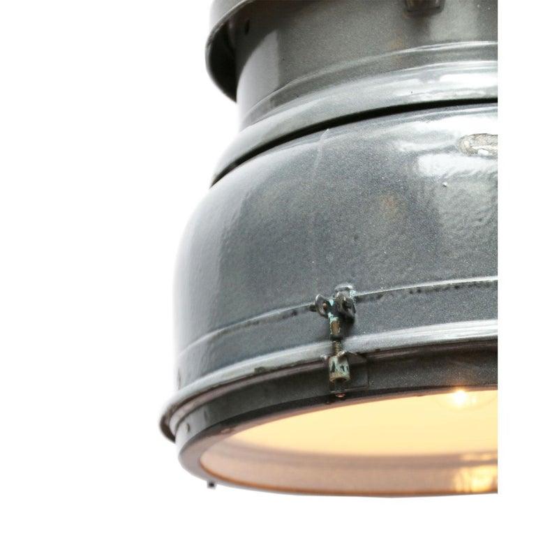 Czech Grey Enamel Vintage Industrial Clear Glass Pendant Lamp For Sale