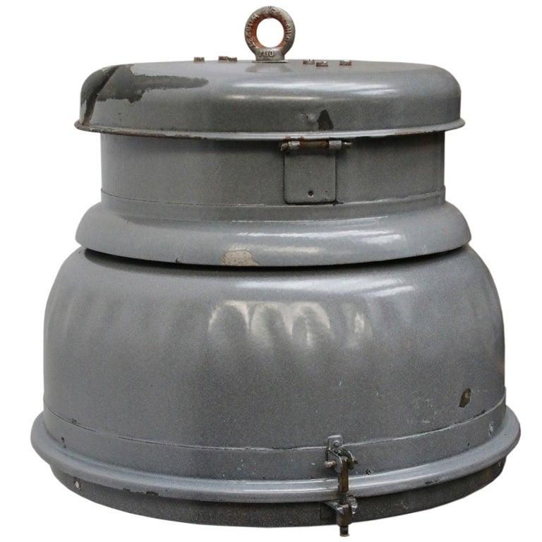 Grey Enamel Vintage Industrial Clear Glass Pendant Lamp For Sale