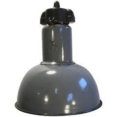 Grey Enamel Vintage Industrial Hanging Bauhaus Lamp