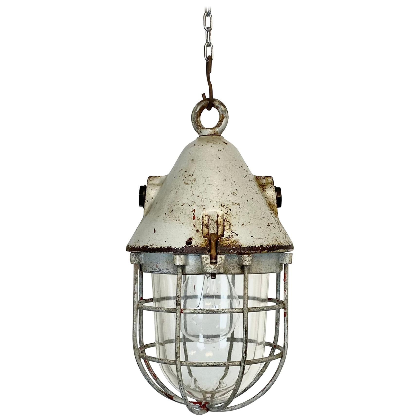 Grey Explosion-Proof Factory Bunker Cage Lamp from EOW, 1960s