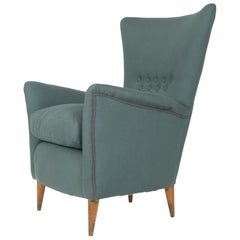Grey Fabric 1950s Italian Armchair