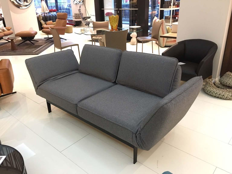 Grey Fabric Functional Sofa Chaise Lounge with Black Steel Frame by Rolf  Benz
