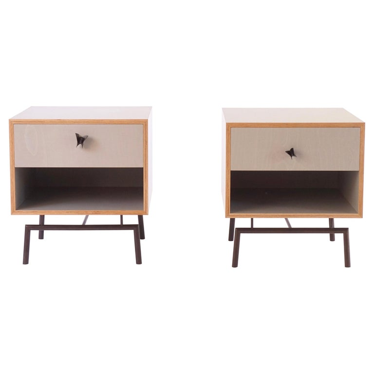 Grey Finn Ply Bedside Tables with Bronze Base and Bronze Butterfly Pulls For Sale