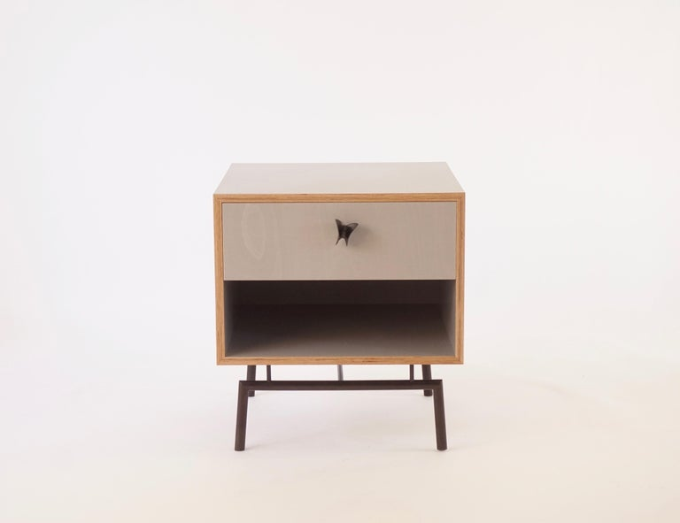 Blackened Grey Finn Ply Bedside Tables with Bronze Base and Bronze Butterfly Pulls For Sale