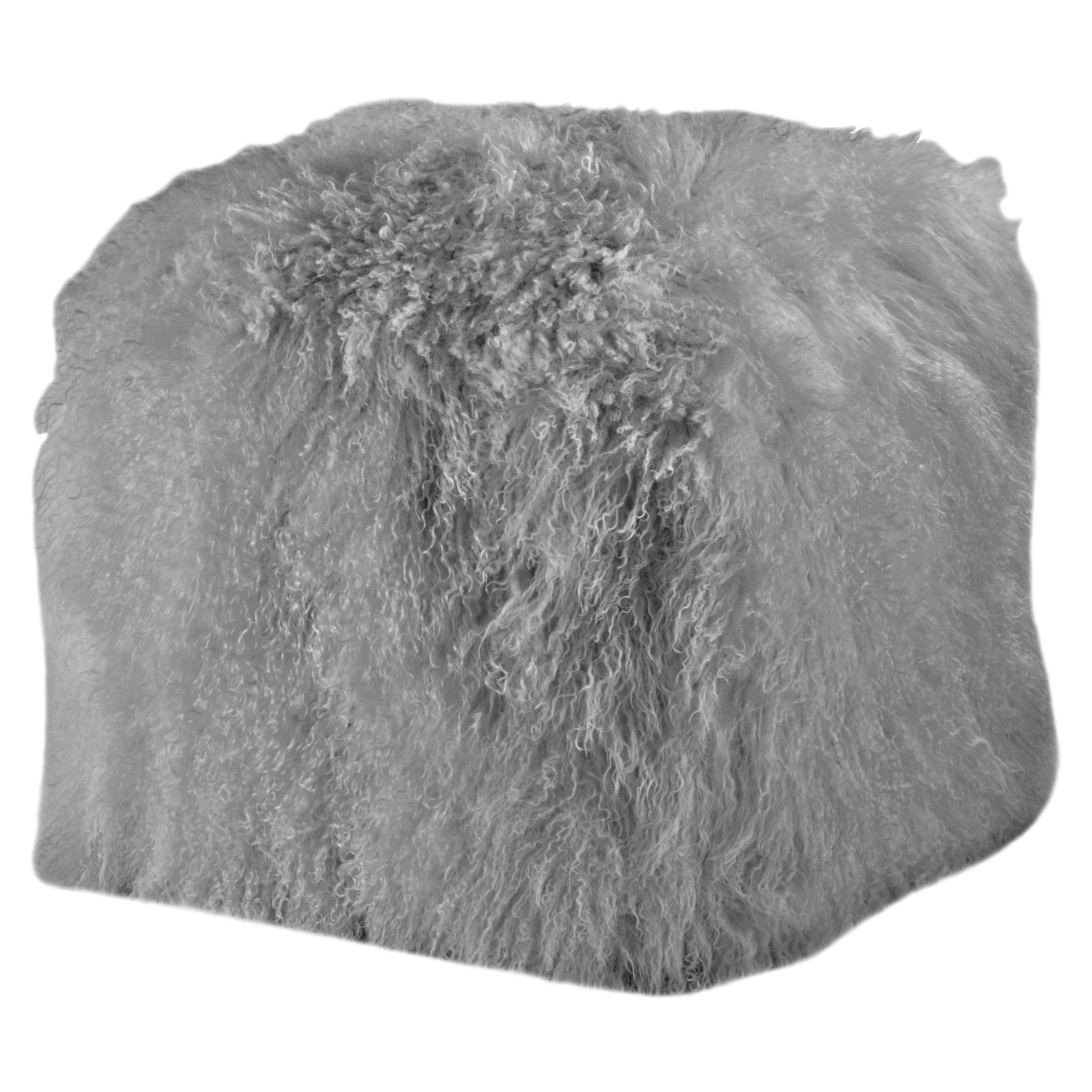 Grey Fur Ottoman, Mongolian Sheepskin Pouffe