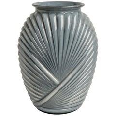 """Grey Glass Deco """"Plissé"""" Vase"""