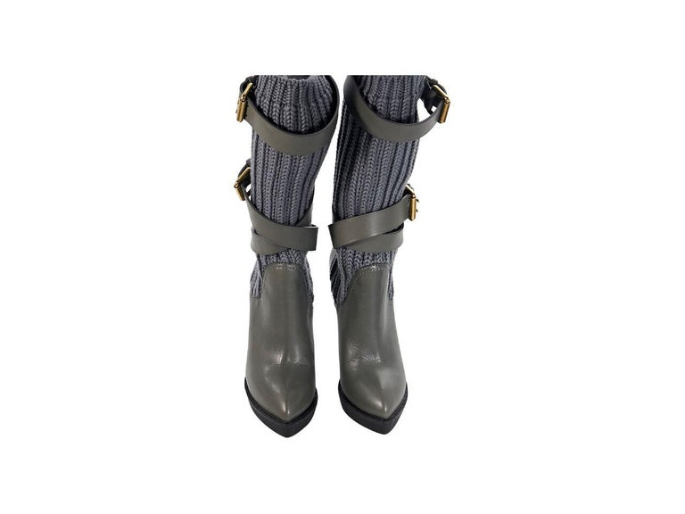 Gray Grey Gucci Leather & Knit Platform Boots For Sale