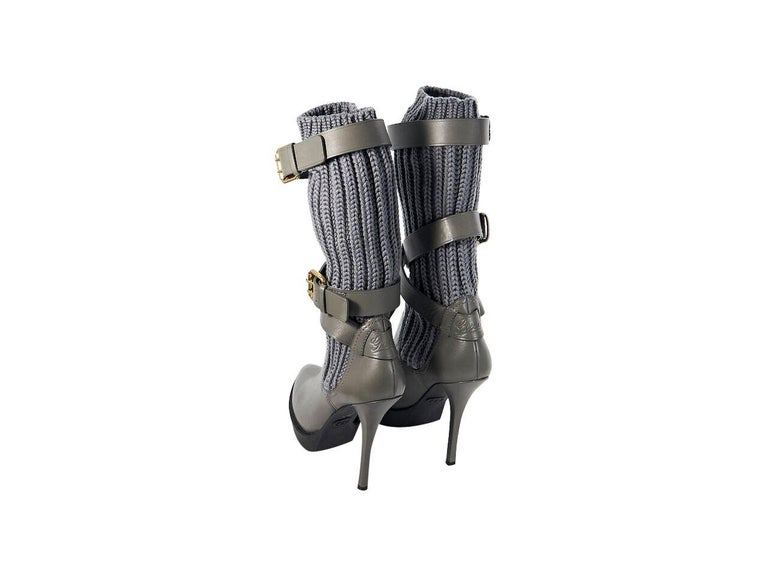 Women's Grey Gucci Leather & Knit Platform Boots For Sale