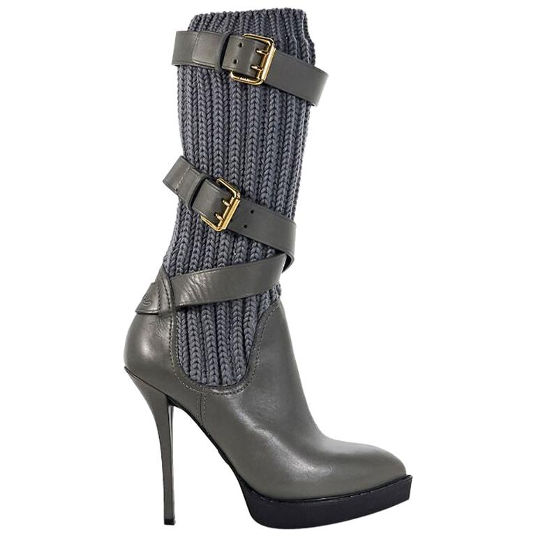 Grey Gucci Leather & Knit Platform Boots For Sale