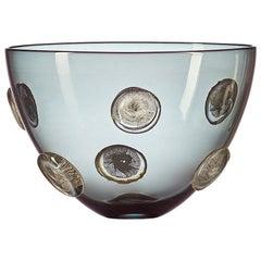 Grey Hand Blown Glass Designer Statement Bowl with Luxe Silver Dots, Vetro Vero