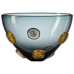 Grey Hand Blown Designer Glass Statement Bowl with Luxe Gold Dots by Vetro Vero
