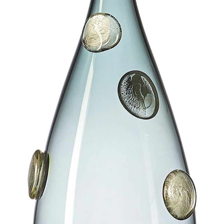 Modern Grey Hand Blown Glass Designer Statement Bowl with Luxe Silver Dots, Vetro Vero For Sale