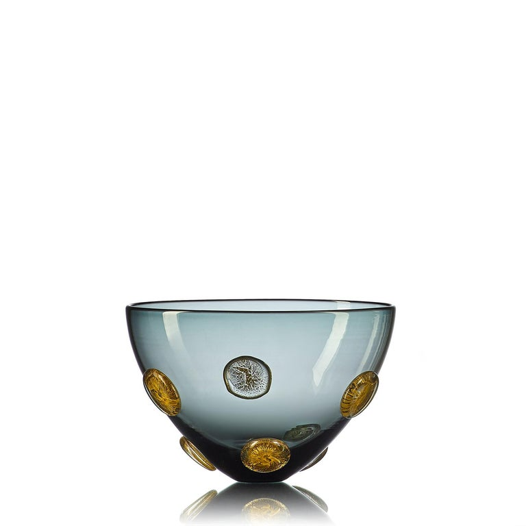 Hand-Crafted Grey Hand Blown Glass Designer Statement Bowl with Luxe Silver Dots, Vetro Vero For Sale